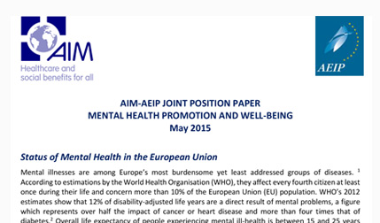 AIM-AEIP JOINT POSITION PAPER MENTAL HEALTH PROMOTION AND WELL-BEING